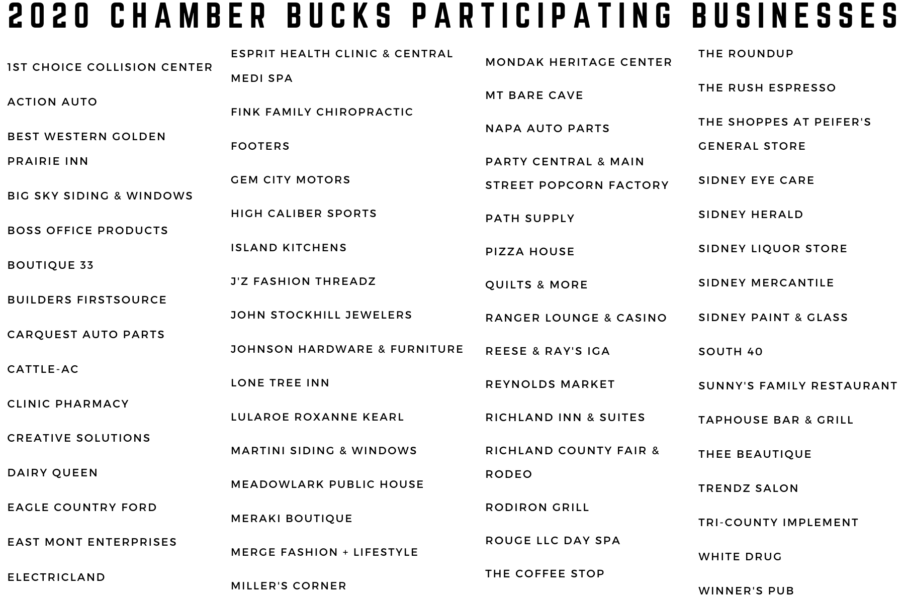 2021 Chamber Bucks List Jan